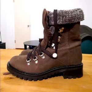 Aldo Brown Faux Suede Winter Boots
